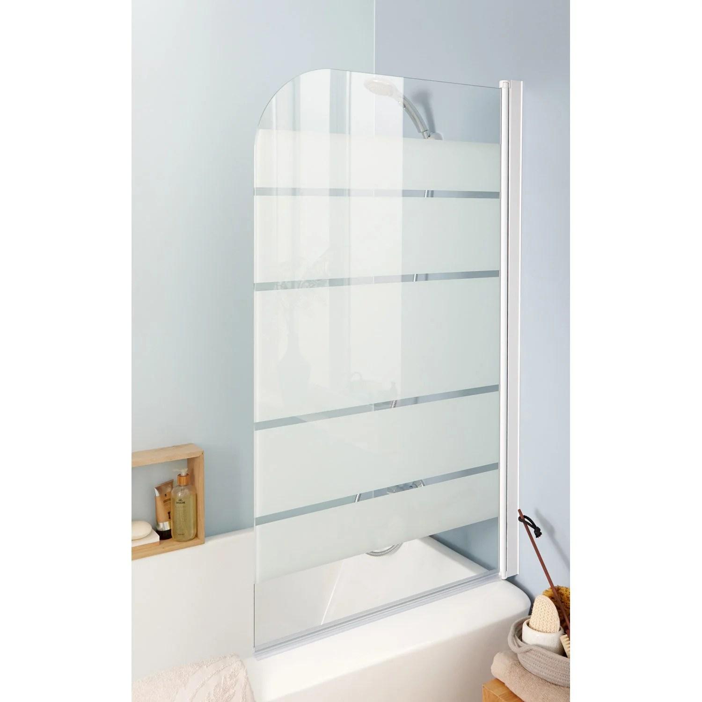 pare baignoire 1 volet pivotant h 130 x l 76 cm verre de