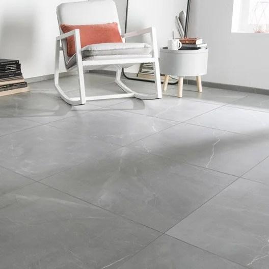 Carrelage sol et mur gris effet marbre Rimini l60 x L60 cm  Leroy Merlin
