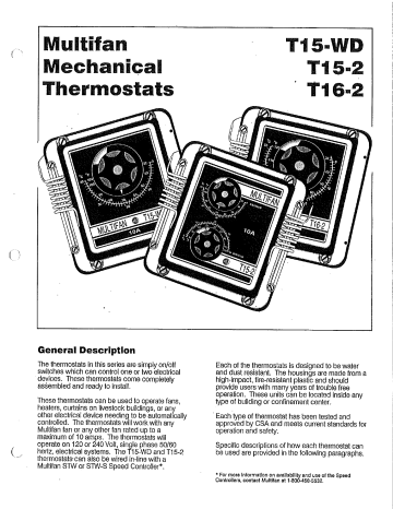 Multifan T15-2 Thermostat Installation Owner's Manual