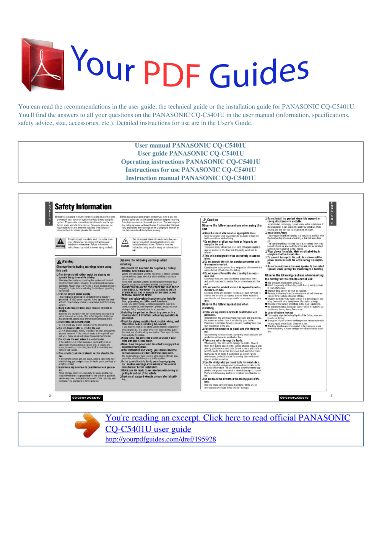medium resolution of operating instructions panasonic cq c5401u