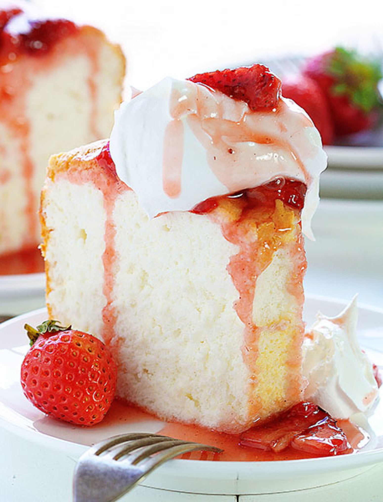 Angel Food Cake With Roasted Strawberry Sauce Recipe