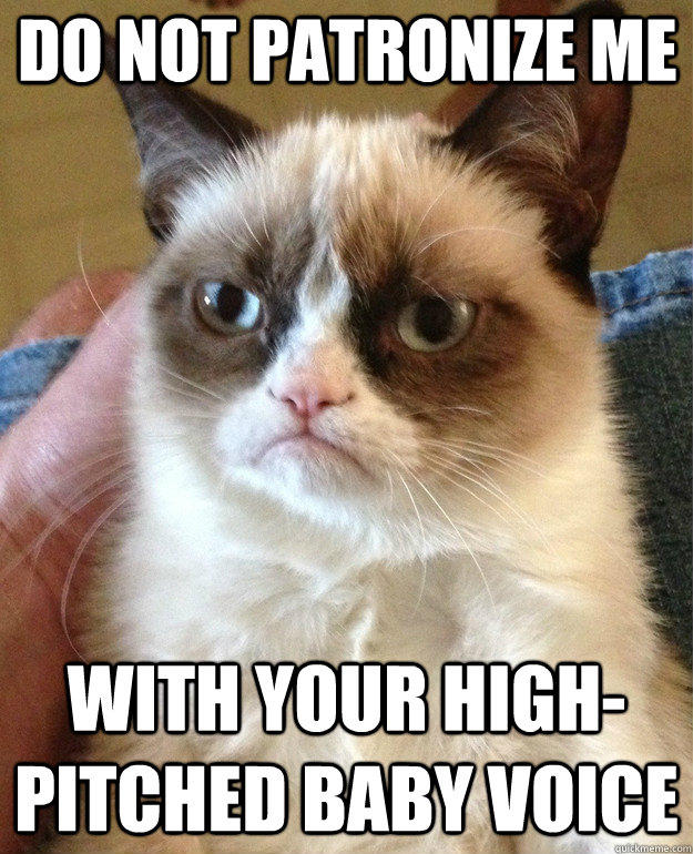 do not patronize me with your high-pitched baby voice - do not patronize me with your high-pitched baby voice  Grumpy Cat