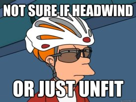 Not sure if headwind or just unfit - Fry from Futurama