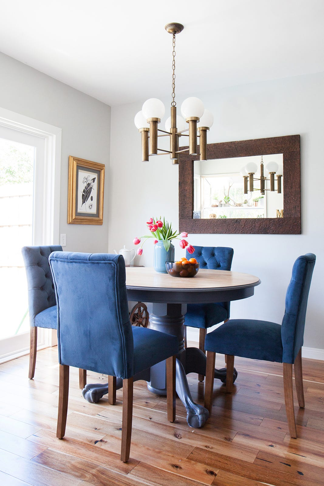 blue chair living room black clocks for cheap makeover emily henderson target