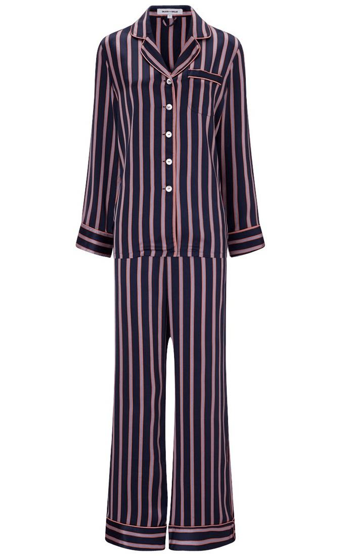 navy silk striped lila