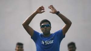 India's Ravichandran Ashwin reacts after bowling in the nets during a practice session ahead of their first test cricket match against South Africa, in Mohali, India, November 4, 2015. REUTERS/Adnan Abidi/Files
