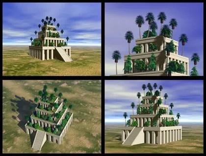 Reprodução em 3D do que seria os Jardins Suspensos da Babilônia