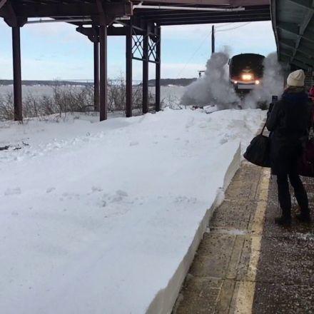 Amtrak Snow-motion Snow Collision