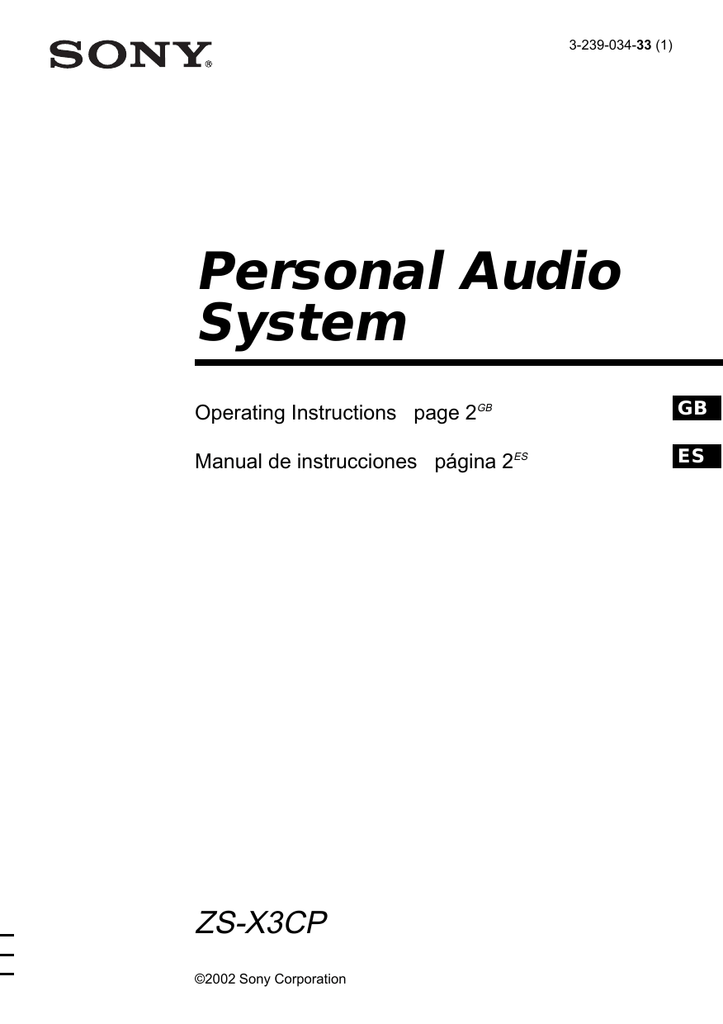 Personal Audio System ZS-X3CP Operating Instructions page 2