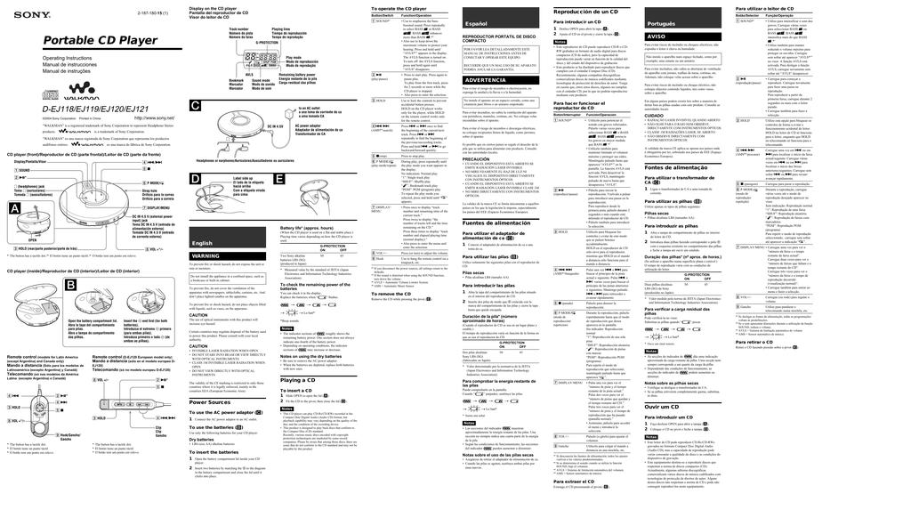 Portable CD Player Operating Instructions Manual de