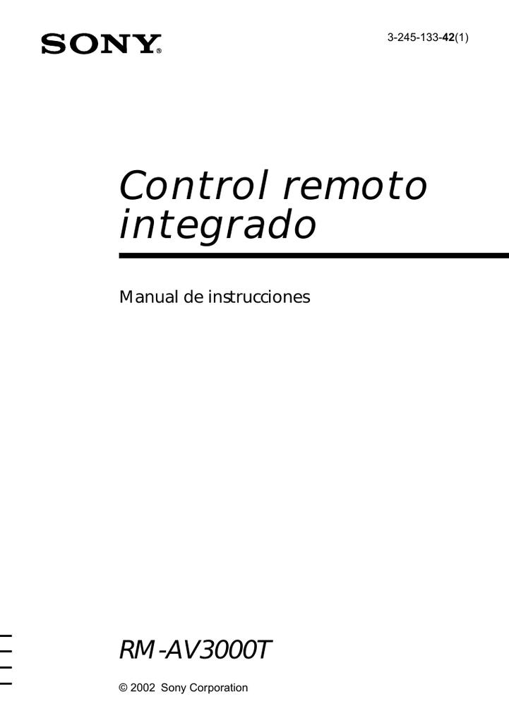 Control remoto integrado RM-AV3000T Manual de instrucciones