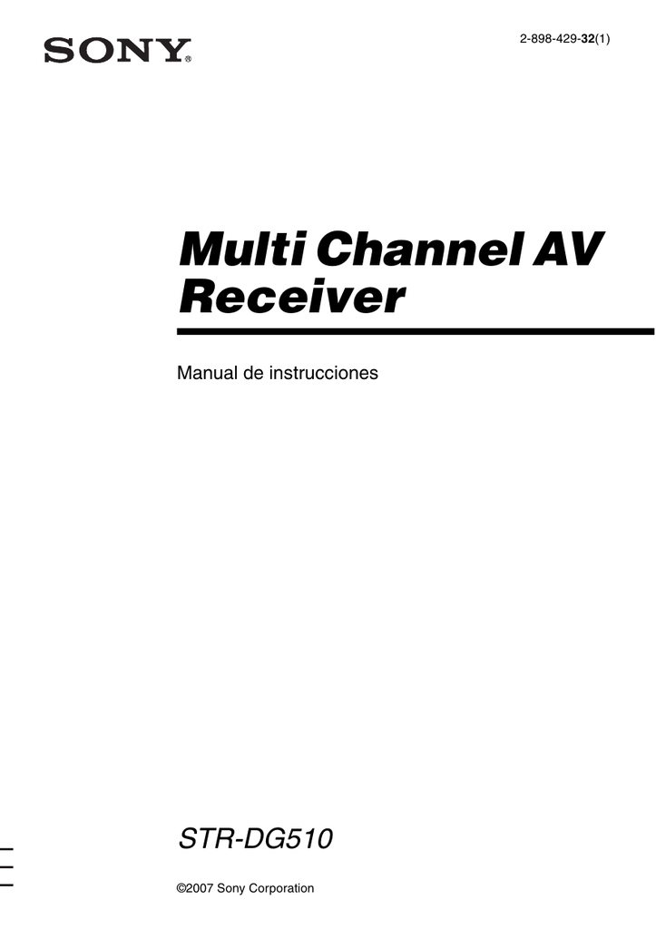 Multi Channel AV Receiver STR-DG510 Manual de instrucciones