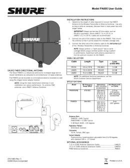 Shure UA860WB User Guide