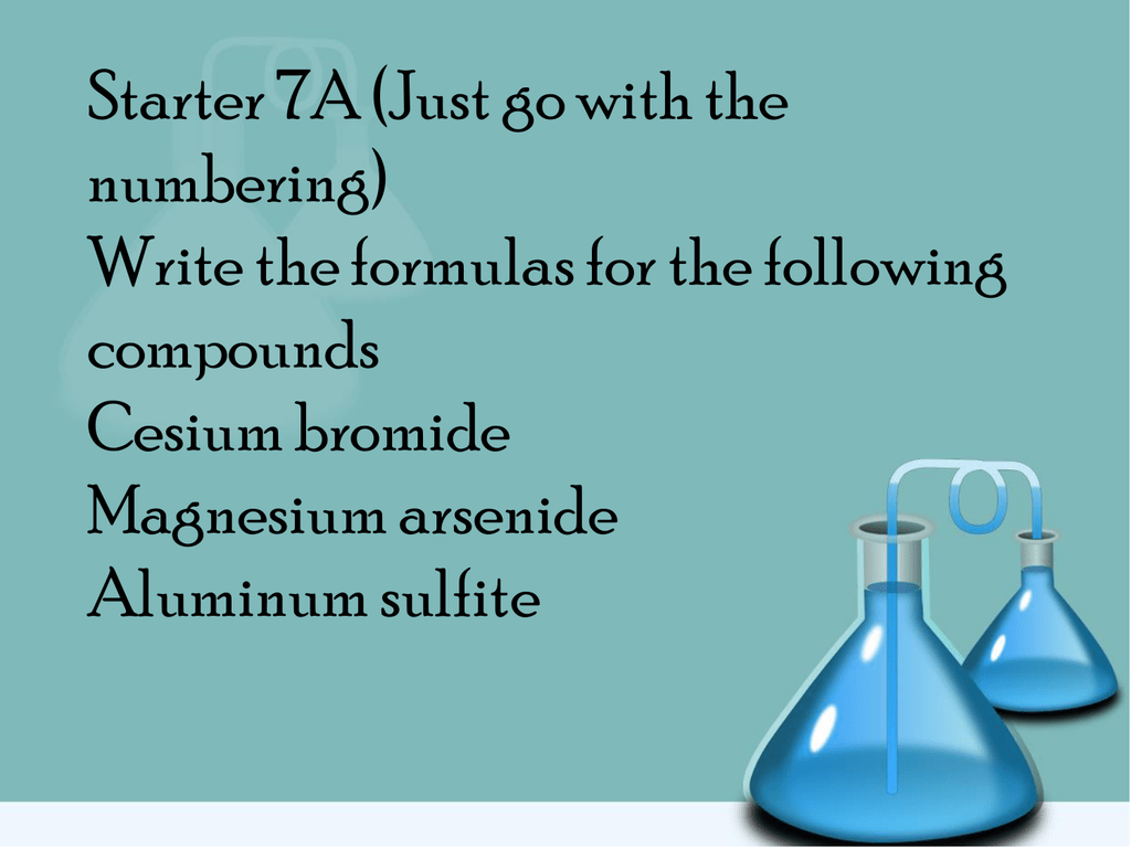 Unit 5 Starter 7 Write The Name Of Each Compound