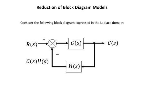 small resolution of reduction of block diagram models consider the following block diagram expressed in the laplace domain reduction of block diagram models reduction of block