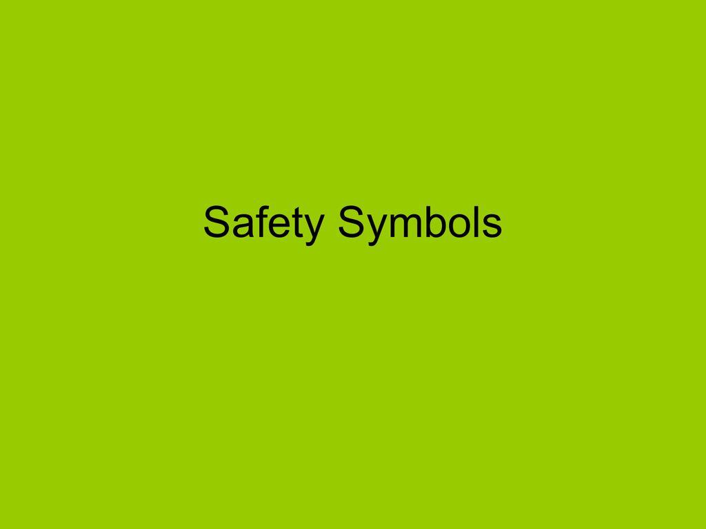 Safety Symbols Powerpoint