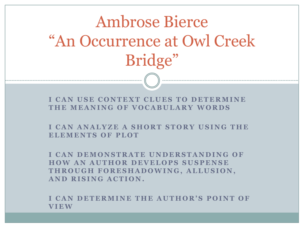 an occurrence at owl creek bridge plot diagram bromine phase sketch ambrose bierce