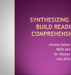 Synthesizing to Build Reading Comprehension - Isles District 4 [ 768 x 1024 Pixel ]