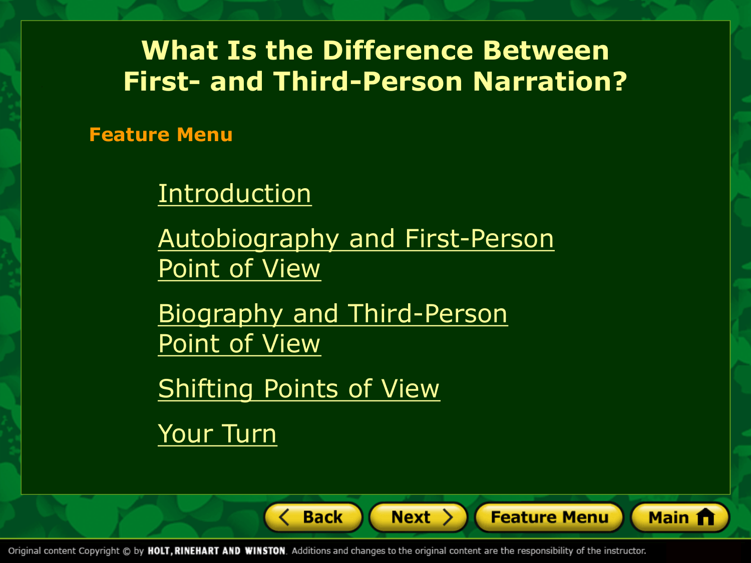 First And Third Person Point Of View Point Of View