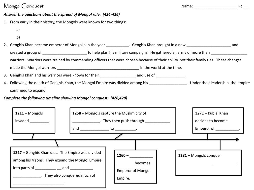 Mongol Worksheet