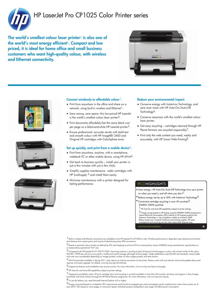 Impressora HP LaserJet Pro CP1025 em cores Downloads de