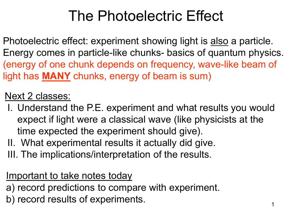 Photoelectric Effect Lecture Notes Ppt