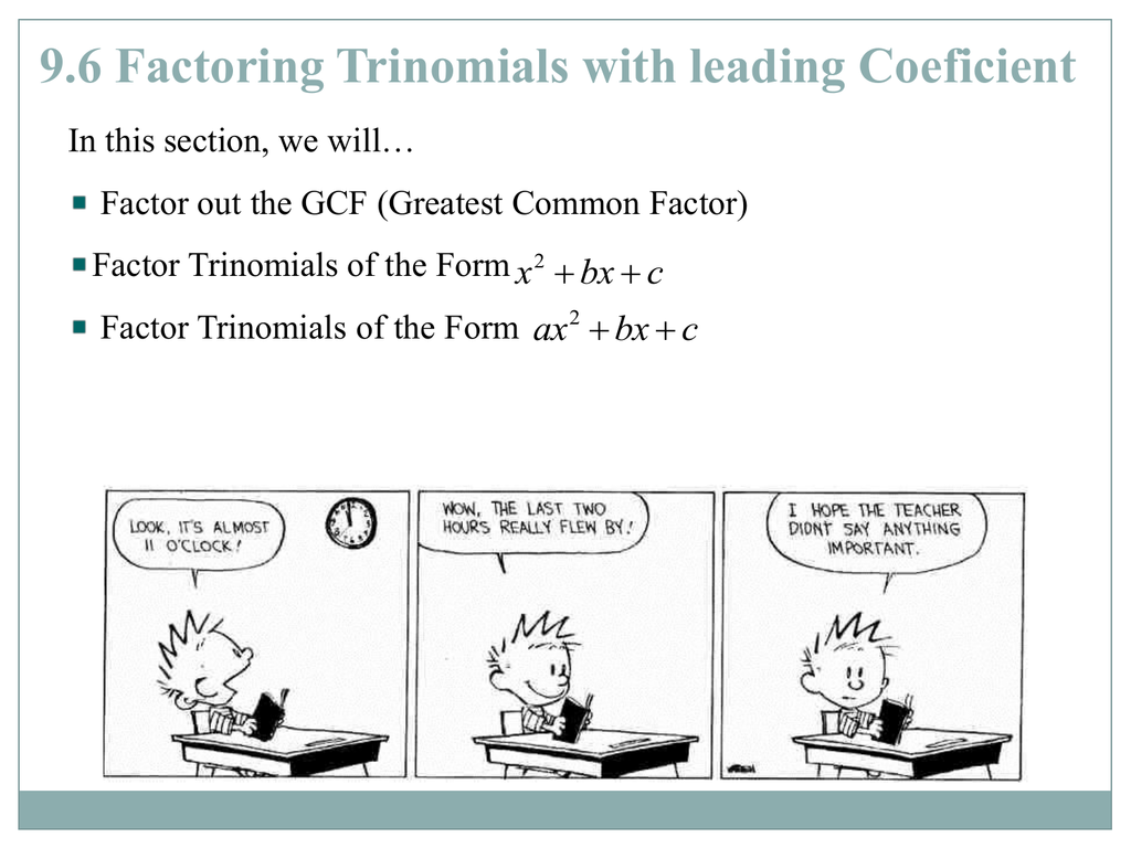 Factoring Trinomials With A Leading Coefficient Of 1