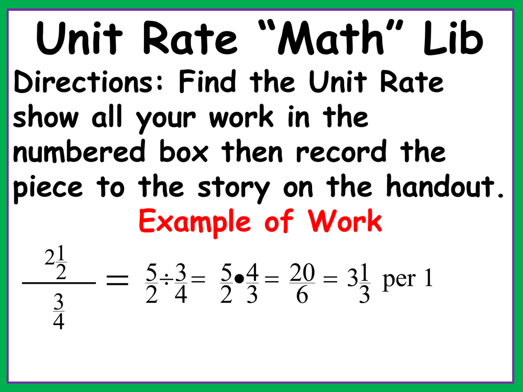 Find The Unit Rate A