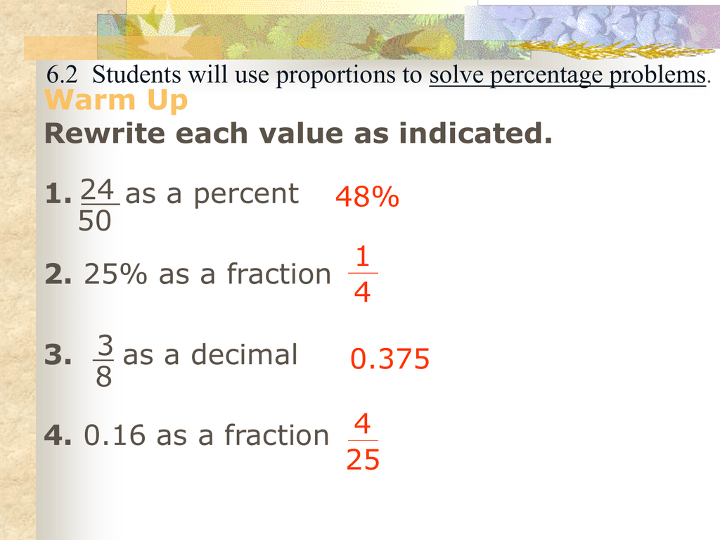 Proportions Problems Worksheet