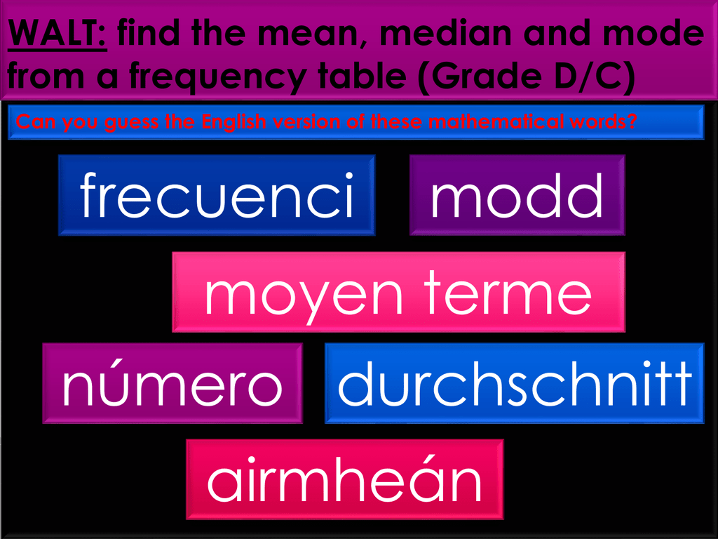 Walt Find The Mean Median And Mode From A Frequency Table