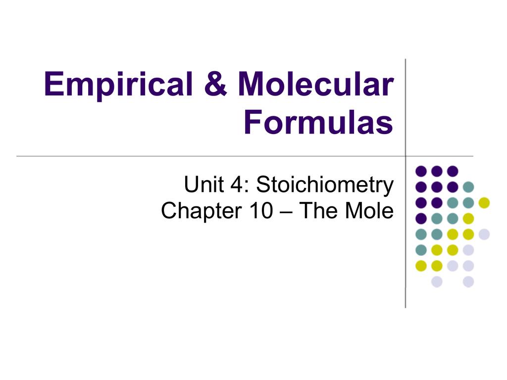 Empirical Formula From Percent