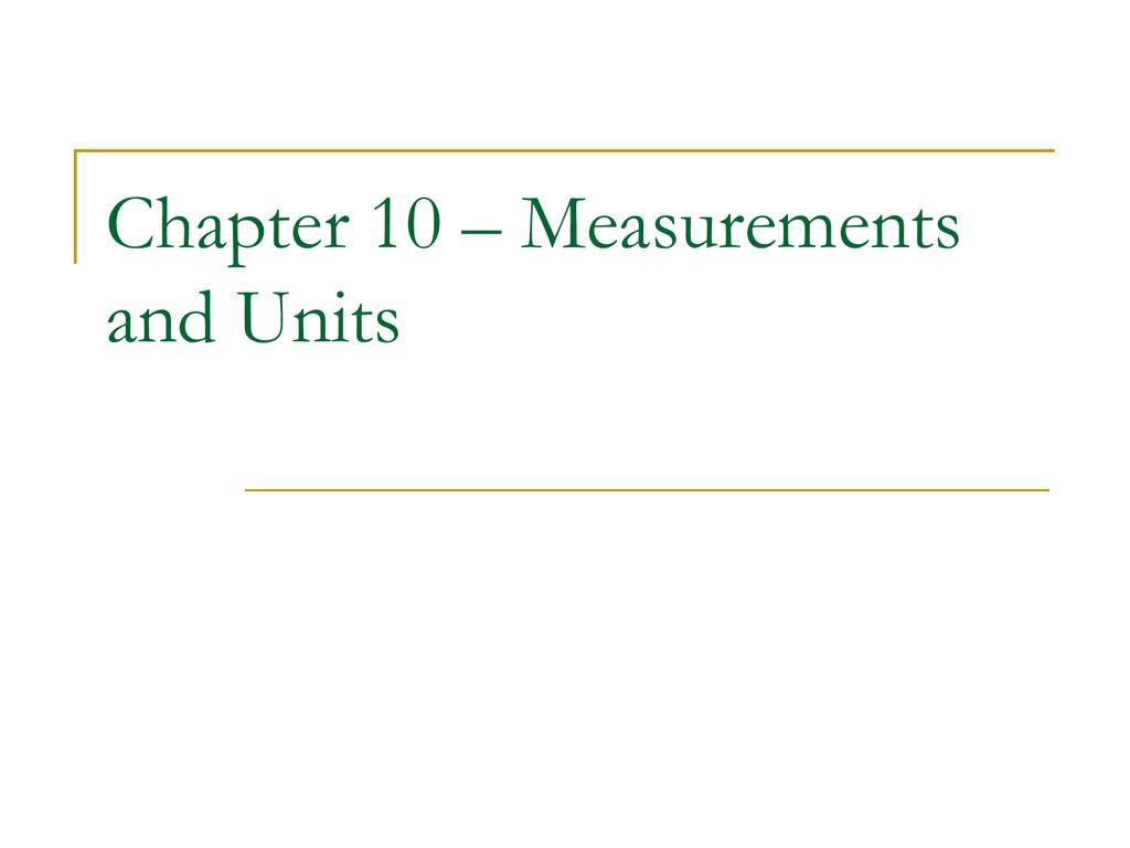 10 1 U S Customary Units