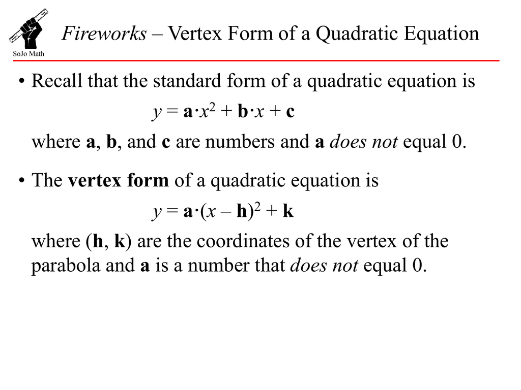 Quadratic Equation In Vertex Form