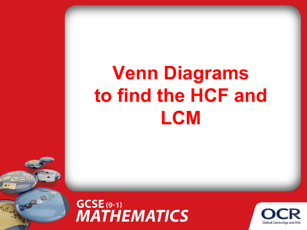hcf and lcm using venn diagrams ar 15 bolt assembly diagram use of to find the