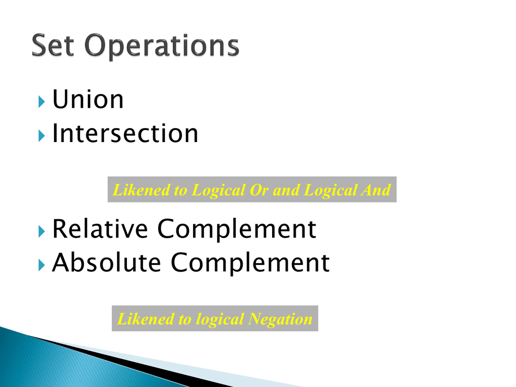 Set Operations Relative Complement