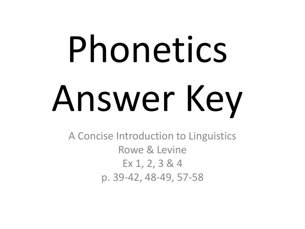 Phonetics Ex 1, 2 & 3