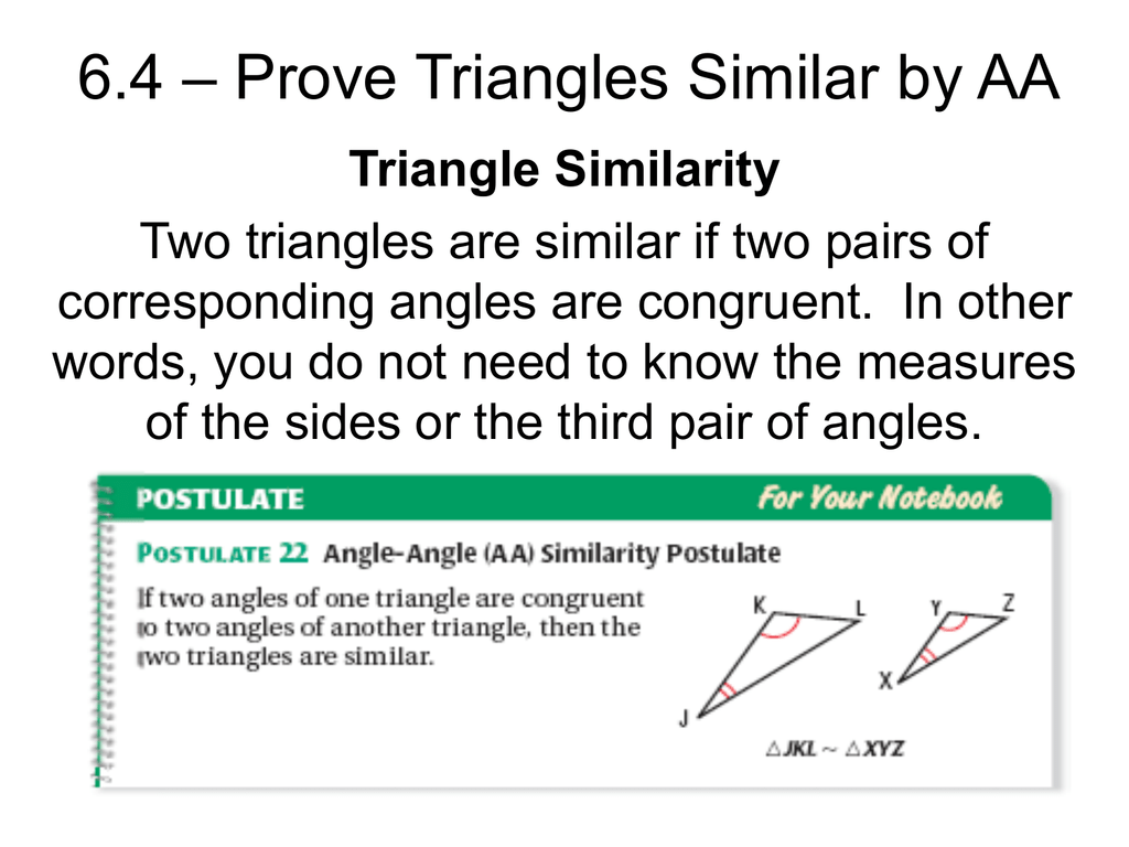 6 4 Prove Triangles Similar By Aa