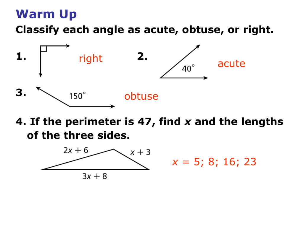 Made By Teachers Angles Acute Obtuse Right