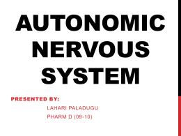 WORKSHEET 10: THE AUTONOMIC NERVOUS SYSTEM