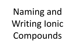 Nomenclature of Ionic Compounds (ANSWER KEY)