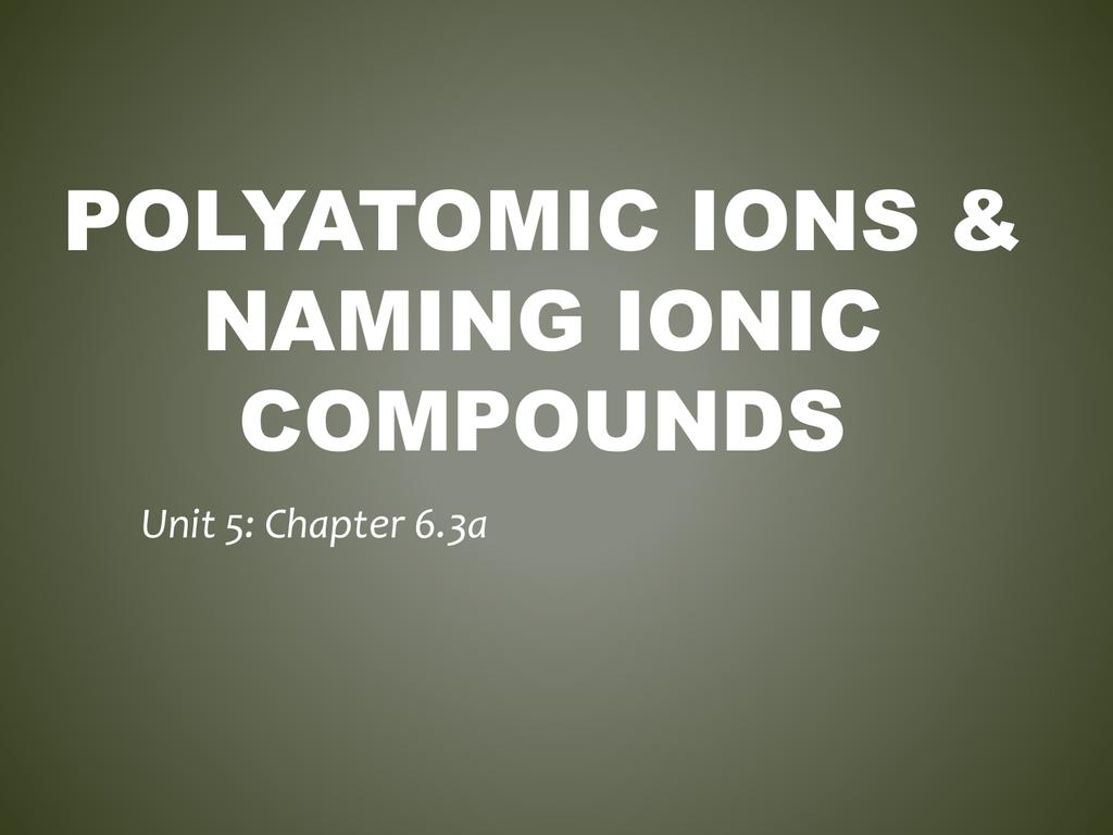 Polyatomic Ions Amp Naming