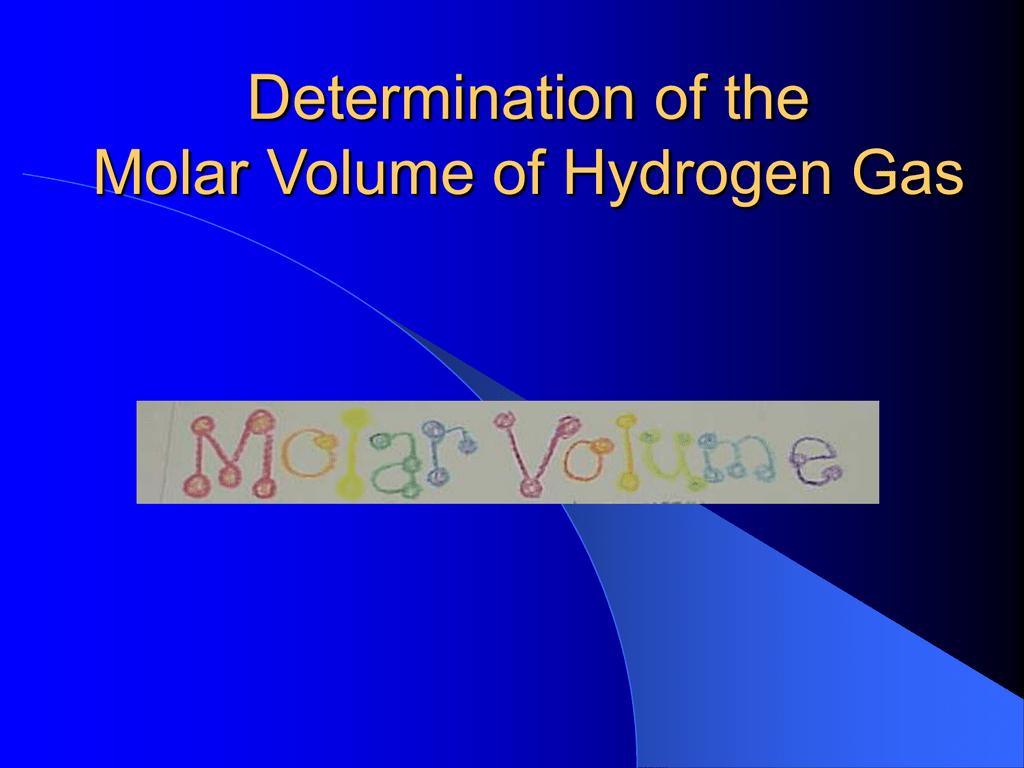 Molar Volume Of H2