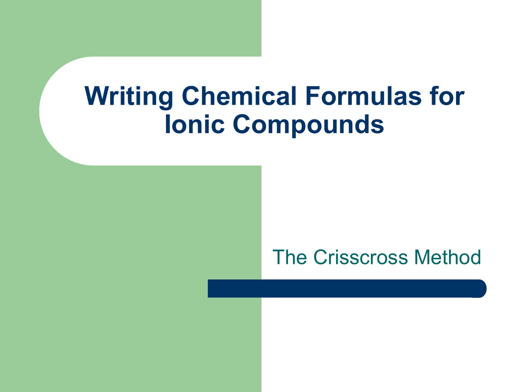 Writing Chemical Formulas For Ionic Compounds