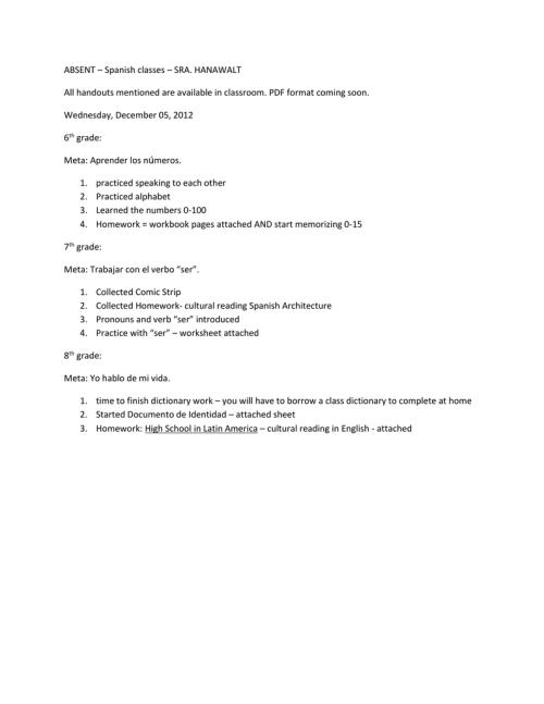 small resolution of ABSENT – Spanish classes – SRA. HANAWALT All handouts