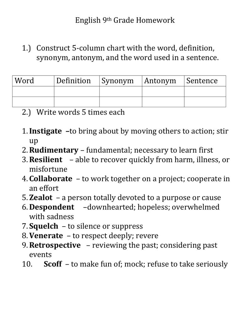 medium resolution of English 9th Grade Homework