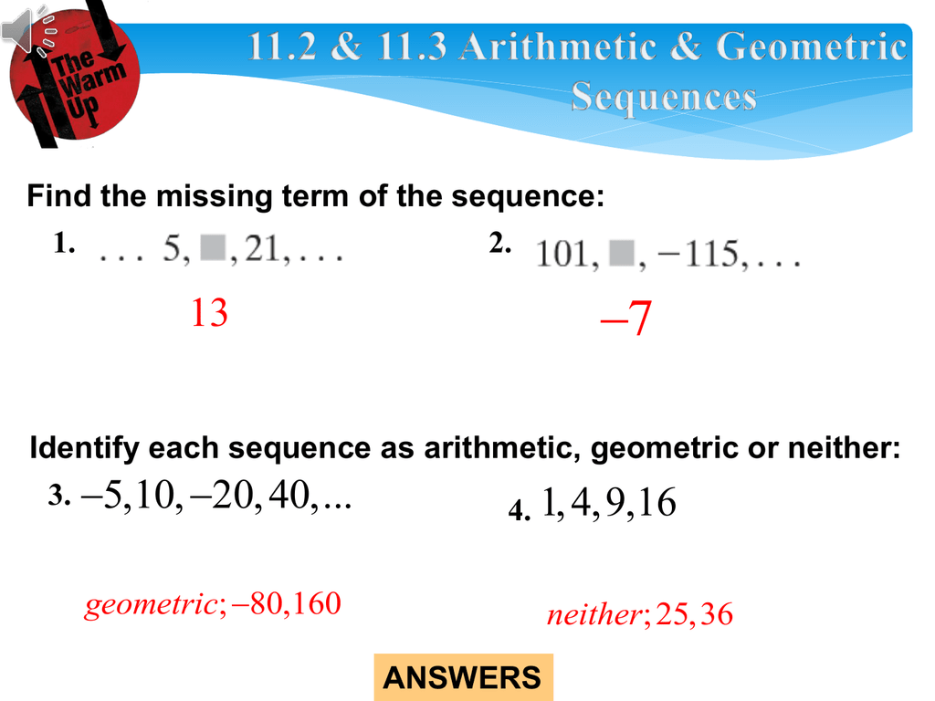 Arithmetic And Geometric Sequences And Series Worksheet