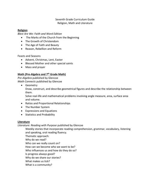 small resolution of Seventh and Eighth Grade Curriculum Guide