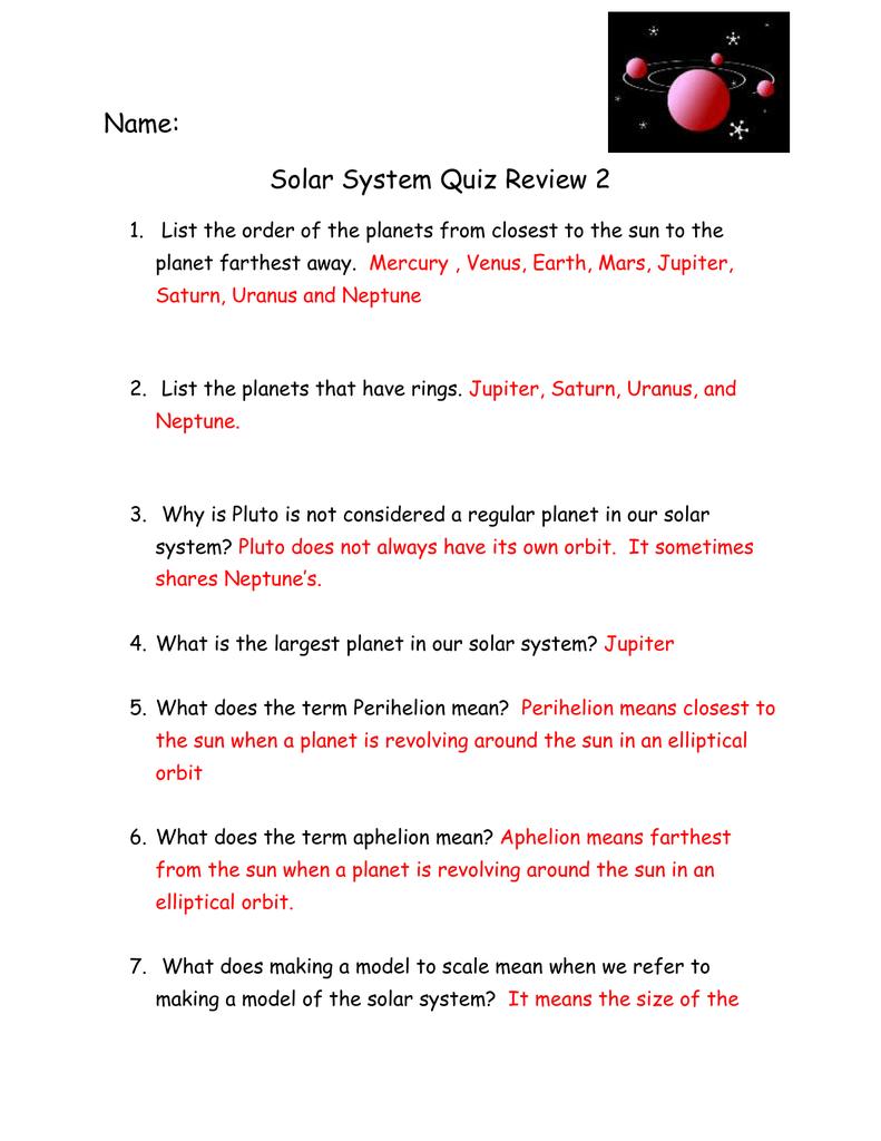 hight resolution of Solar System Quiz For Grade 4 Pdf - Solar System Pics