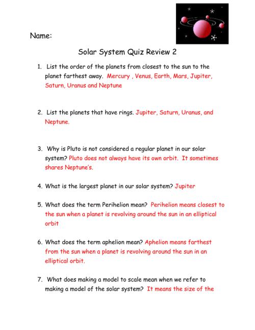 small resolution of Solar System Quiz For Grade 4 Pdf - Solar System Pics