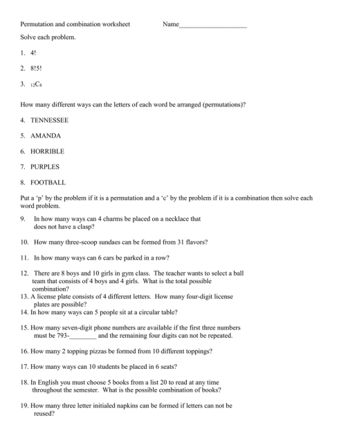small resolution of Permutations And Combinations Worksheet Answers - Worksheet List